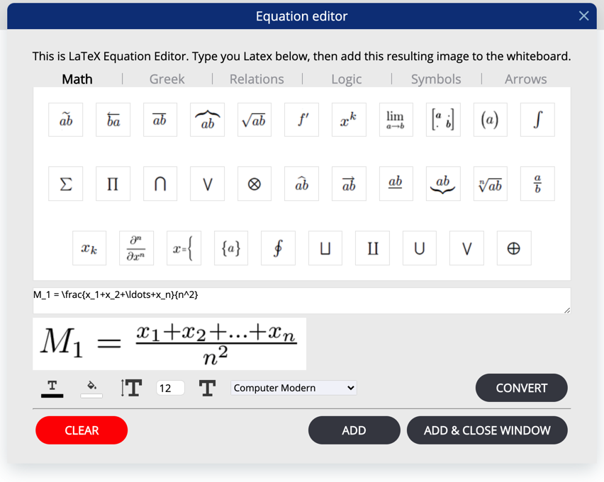 equation editor vc